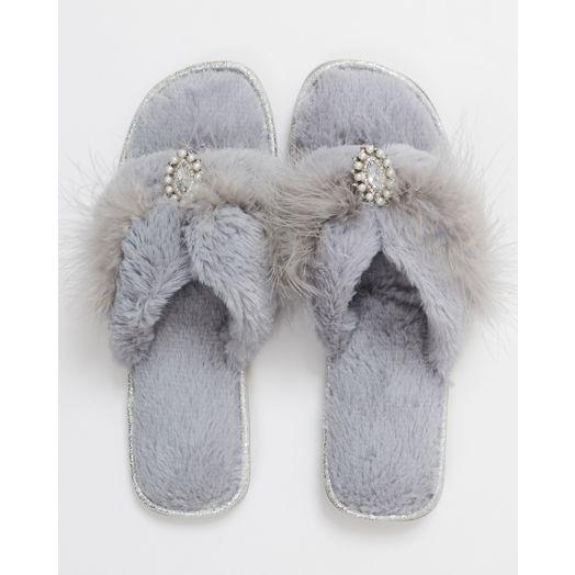 Pia Rossini | Zoe Faux Fur Slippers - Silver