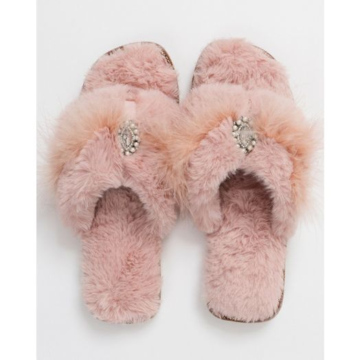 Pia Rossini | Zoe Faux Fur Slippers - Blush Pink